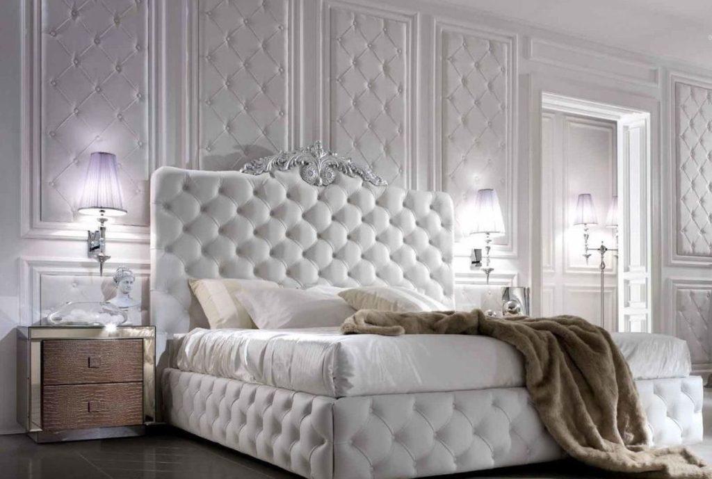 Кровать с мягким изголовьем в интерьере 07