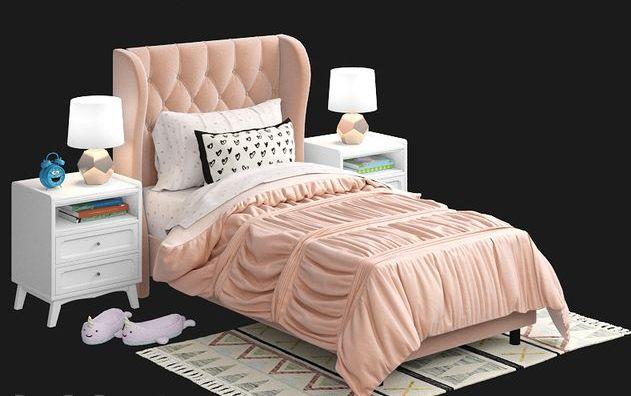 Детская мягкая кровать модель 028