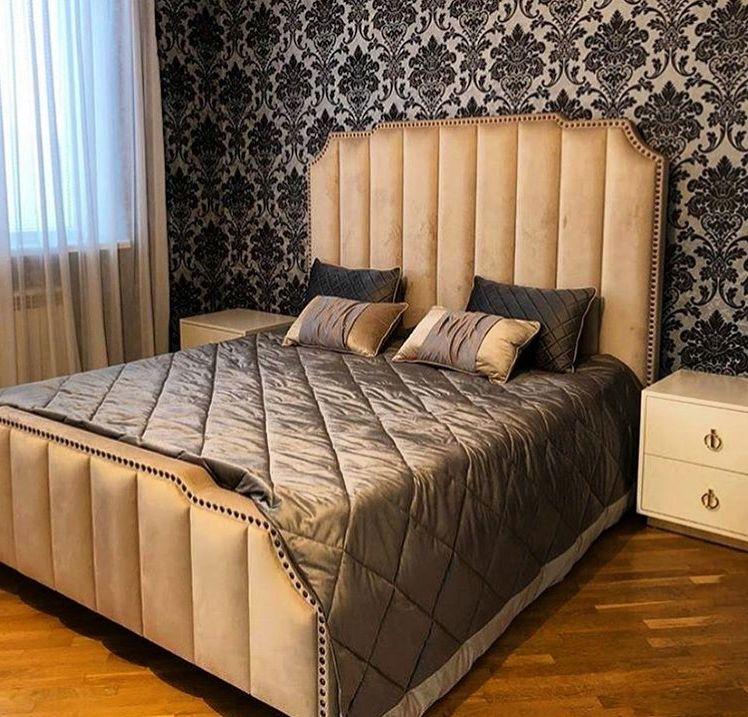 Кровать с большим мягким изголовьем фото 126