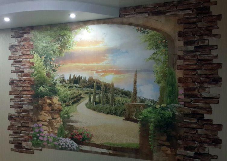 Фреска на стену в интерьере фото 143