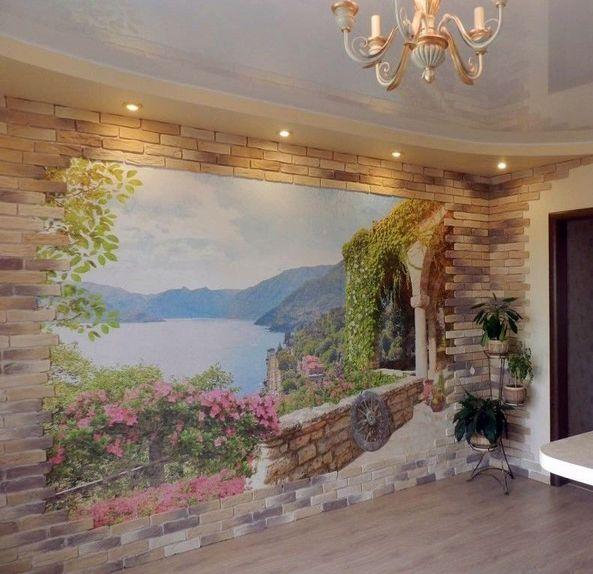 Фреска на стену в интерьере фото 145