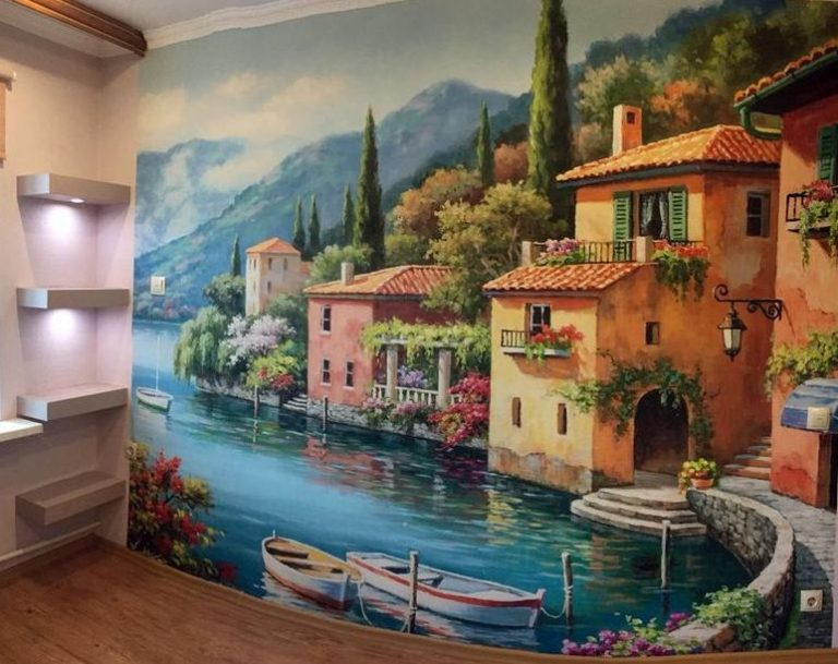 Фреска на стену в интерьере фото 146