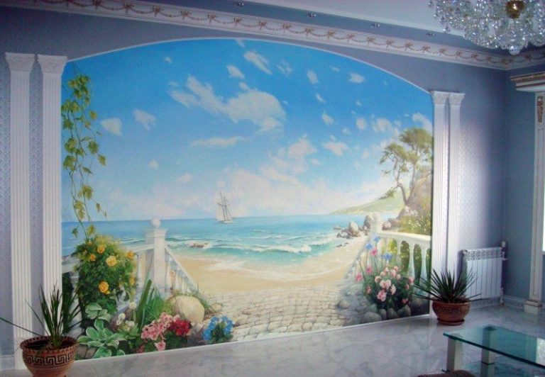 Фреска на стену в интерьере фото 147