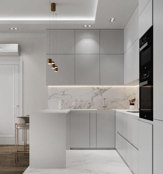 Панель для кухни под мрамор фото 906