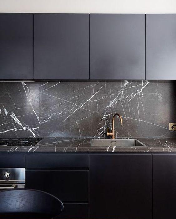 Фартук для кухни под черный мрамор фото 316