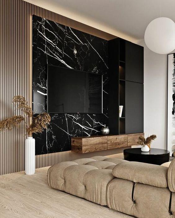 Стеновая панель под черный мрамор фото 503
