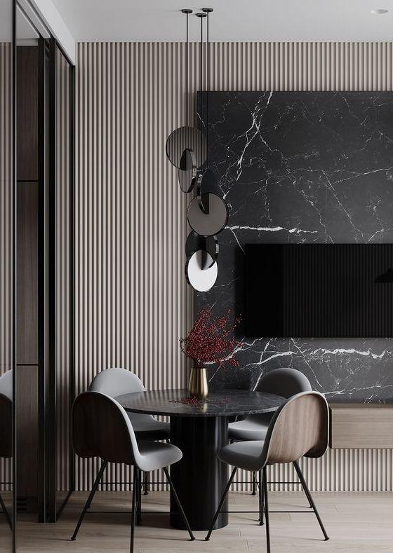 Стеновая панель под черный мрамор фото 509