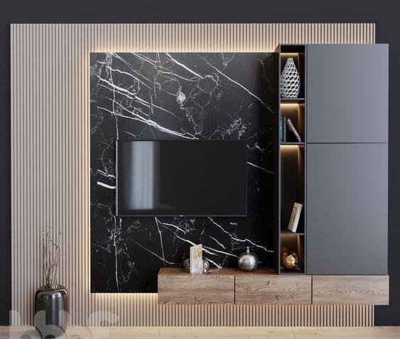 Стеновая панель под черный мрамор фото 515