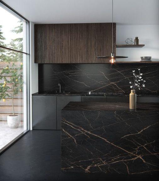 Фартук для кухни под черный мрамор фото 240