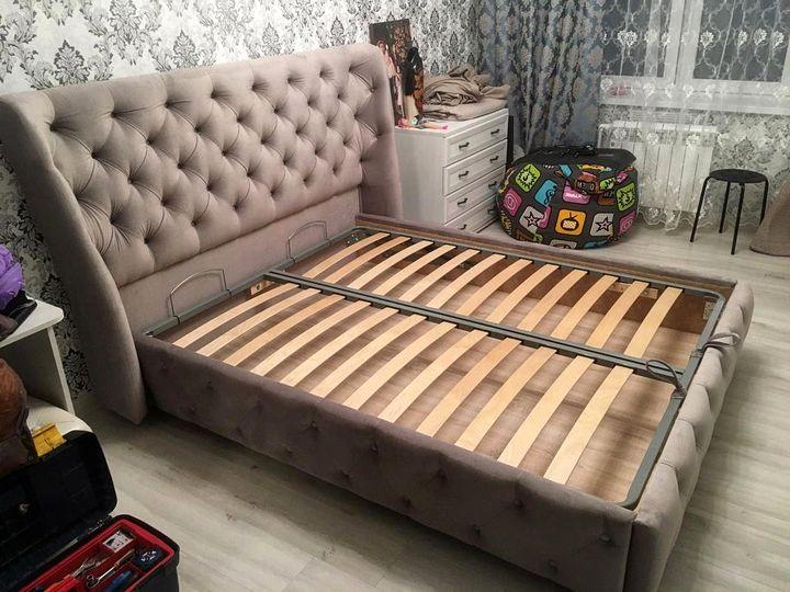 Кровать с мягким изголовьем фото 321